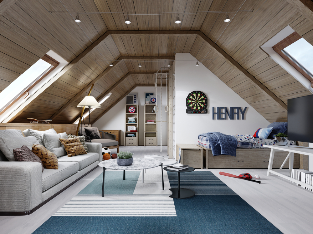 The design of the children's room for the teenager on the attic is in the loft style, the ceiling is hemmed with wood and the walls are white